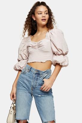 Topshop Lilac Puff Sleeve Taffeta Lace Shirt