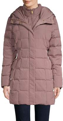 Cole Haan Shirred-Waist Hooded Quilted Down Coat