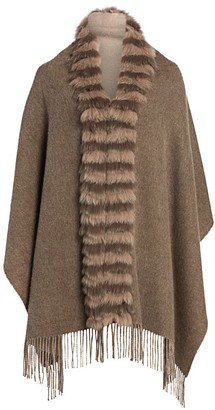 The Fur Salon Fox Fur-Trim Cashmere & Wool Poncho