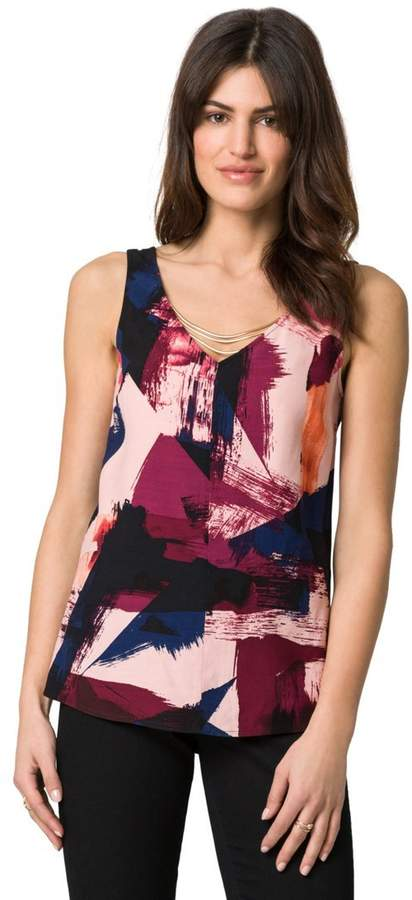 Le Château Abstract Print Necklace Sleeveless Top,L
