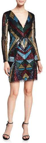 Aidan Mattox V-Neck Long-Sleeve Geometric-Beaded Cocktail Dress
