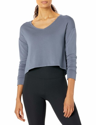 Core Products Amazon Brand - Core 10 Women's Cloud Soft Cropped Flow V-Neck Relaxed Fit Yoga Sweatshirt