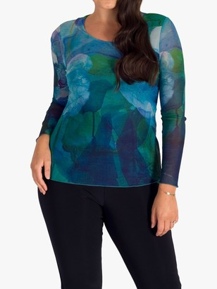 Chesca Abstract Mesh Top, Cobalt