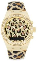 GUESS Connect Stainless Steel Animal Print and Crystal Accented Smart Watch- C0002M6