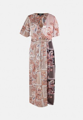 Missguided Size Rust Paisley Print Maxi Dress