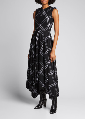 Alexander McQueen Plaid Wool-Cashmere Asymmetrical Midi Dress