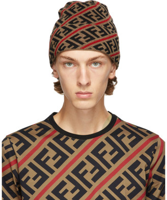 Fendi Brown and Red Wool Forever Beanie