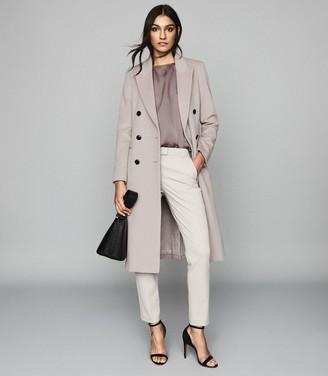 Reiss MADDIE Wool blend Longline Coat Silver Grey