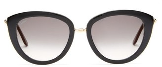 Cartier Trinity Oversized Cat-eye Acetate Sunglasses - Black Grey