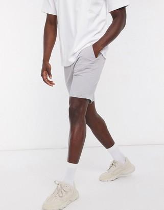 Topman slim chino shorts in light gray