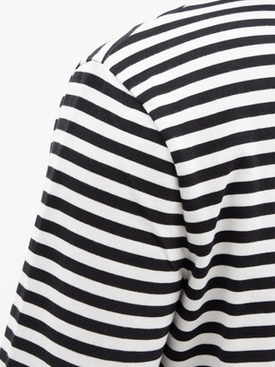 Ami De Cur-logo Striped Cotton-jersey T-shirt - Black White