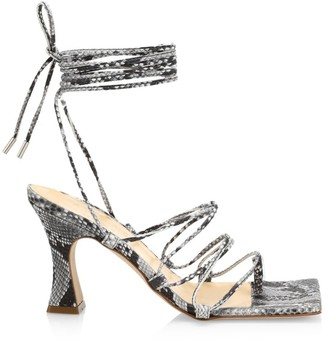 A.W.A.K.E. Mode Rita Python-Print Leather Lace-Up Ankle Strap Sandals