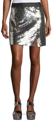 Nanette Lepore Showtime Front-Slit Sequin Mini Skirt