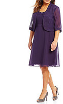 Le Bos Plus Glitter Trim 2-Piece Jacket Dress