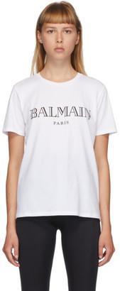 Balmain White and Black Logo T-Shirt