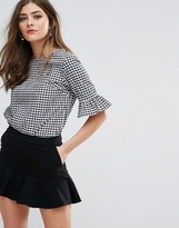 Miss Selfridge Gingham Fluted Sleeve Top