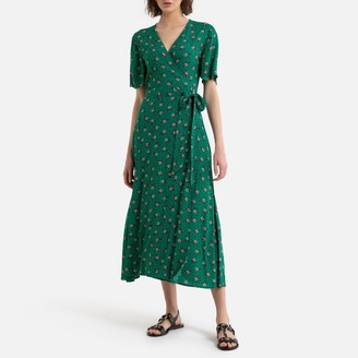 La Redoute Collections Wrapover Maxi Dress in Floral Print with Short Sleeves