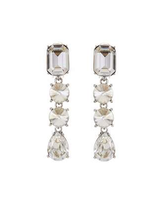 Oscar de la Renta Classic Large Crystal Clip Earrings