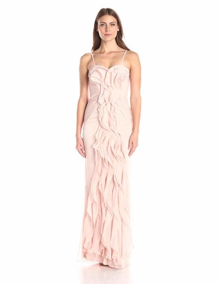 Adrianna Papell Women's Strapless Chiffon Ruffle Front Long Gown
