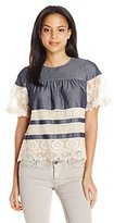 Anna Sui Women's Lace Banded Chambray Top