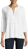 Eileen Fisher 3/4-Sleeve Stretch-Cotton Voile Box Top