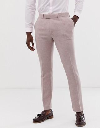 Asos Design DESIGN wedding skinny suit trousers in pink herringbone-Grey