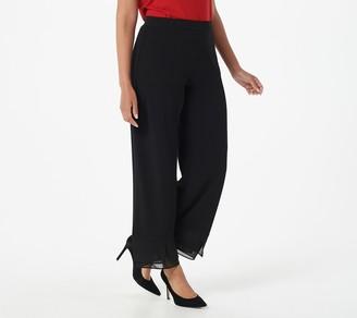 Susan Graver Petite Liquid Knit Ankle Pants w/ Chiffon Hem