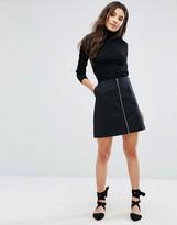 Oasis Zip Front Mini Skirt