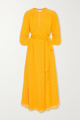 Gabriela Hearst Demeter Cotton And Silk-blend Crepon Wrap Midi Dress - Saffron