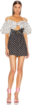 Marianna SENCHINA Double Bow Mini Dress in Milky Black Polka Dots | FWRD