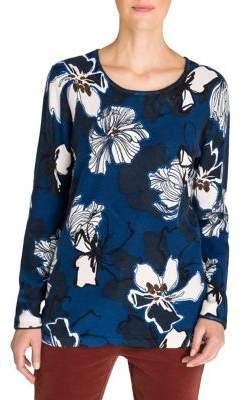 Olsen Rustic Luxury Floral-Print Cotton Sweater