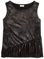 Splendid Girls' Faux-Suede Metallic Ruffled Top with Solid Knit Back - Big Kid
