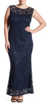 Marina Sleeveless Illusion Lace Gown (Plus Size)