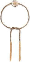 Carolina Bucci Virgo Lucky Zodiac 18-karat Gold, Diamond, Mother-of-pearl And Silk Bracelet