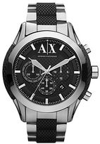 Armani Exchange Mens Stainless Steel and Black Silicone Chronograph Watch