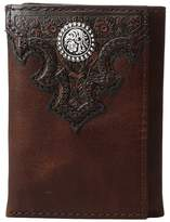 Ariat Overlay Scroll Concho Croc Embossed Trifold Wallet Wallet