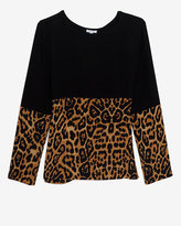 Exclusive for Intermix Leopard Combo Silk Pullover