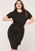 Missguided Plus size tie waist T shirt Dress Black