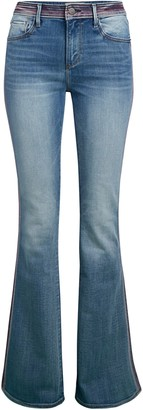 Driftwood Embroidered-Waist Flare Jeans
