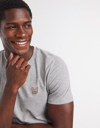 Jack and Jones Essentials slim fit dog logo organic cotton t-shirt in light gray
