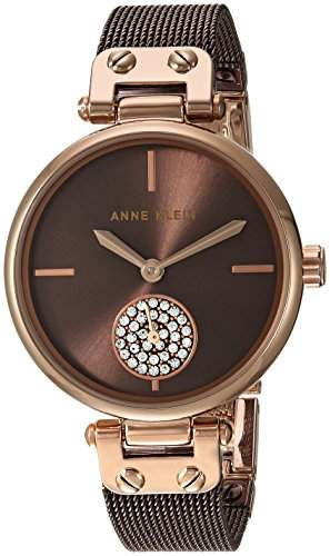 Anne Klein Women's Swarovski Crystal Accented Rose Gold-Tone and Brown Mesh Bracelet Watch