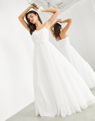 Asos Edition EDITION wedding dress with 3D embroidered bodice-White