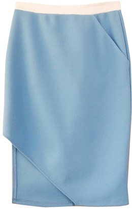 Blue Knit Diagonal Hem Skirt