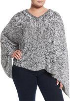 Tart Cashmere Alna Poncho, Black/White, Plus Size