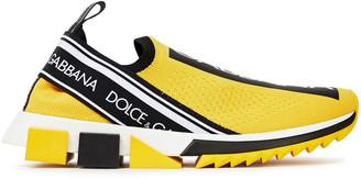 Dolce & Gabbana Super King Monogram-trimmed Stretch-knit Slip-on Sneakers