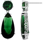 Emitations Inspired by Angelina Jolie's Emerald Earrings - Petite Silver Tone