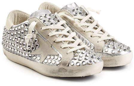 Golden Goose Super Star Embellished Metallic Leather Sneakers