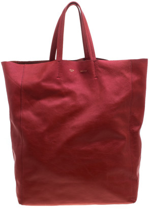 Celine Red Leather Cabas Tote