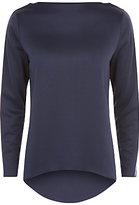 Jaeger Tipped Colour Block Top, Ivory/Navy