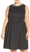 London Times Embellished Stretch Fit & Flare Dress (Plus Size)